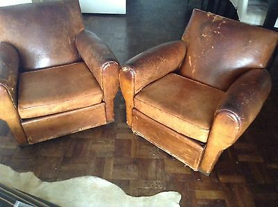 French Art Deco Pair of Leather Club Chairs 1930s Vintage Antique Distressed