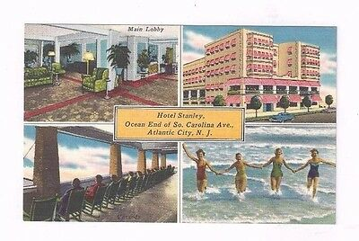 NJ Atlantic City New Jersey antique linen post card 4 Views Hotel Stanley
