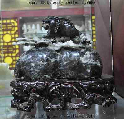chinese fengshui famous Dushan Jade hand craved tiger beast gourd lucky statue A