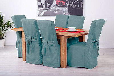 Set of 6 Duckegg Fabric Dining Chair Covers for Scroll Top High Back Leather