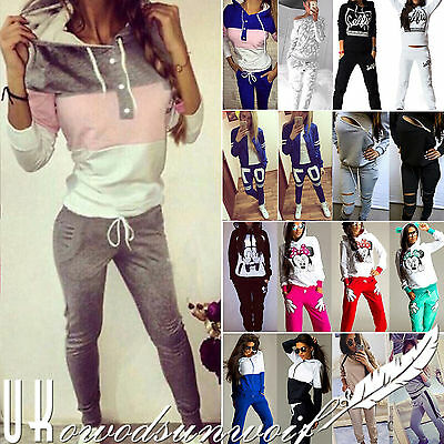 2Pcs Womens Tracksuit Hoodies Jogger Sweatshirt Pants Set Sportswear Casual Suit