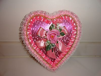 Vintage Valentine's Day Large Heart Candy Box Plastic Flower Satin Lace Netting