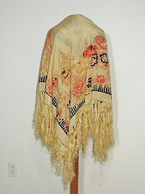 1930's Printed Silk Piano Shawl W Fringe