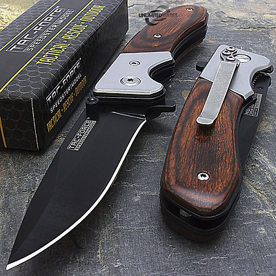 "NEW! 7"" TAC FORCE SPRING ASSISTED WOOD FOLDING POCKET KNIFE Blade Tactical Open"