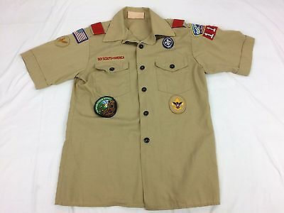 Boy Scouts of America Official Tan Uniform Shirt with Patches Size Youth Large