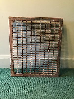 "Vintage Antique Heavy Metal Floor Grate 26 1/4"" X 22 1/2"" X 1 3/4"" Heat Register"