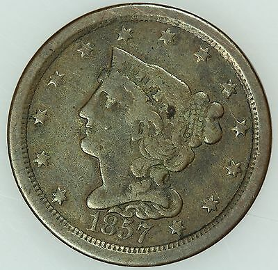1857 Half Cent! F+/vf! 1/2C! Us Coin Lot #3240