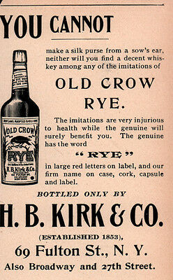 Ad Lot Of 3 1896 Old Crow Ads Rye