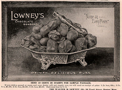 2  1896 Ab Ads Lowneys Chocolate Bon Bons Name Every Piece Silver Footed Server