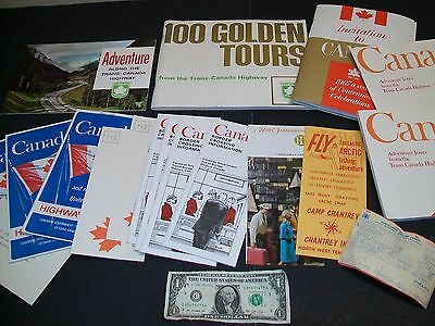 Lof of Vintage Canada Road Maps & Travel Brochures Late 1960's Trans Highway