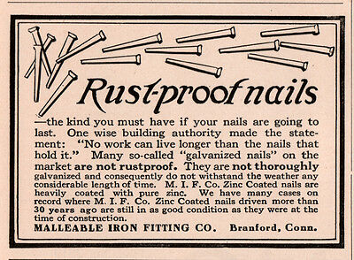 1917 A  Ad  Rustproof Nails Malleable Iron Fitting Co Branford Ct