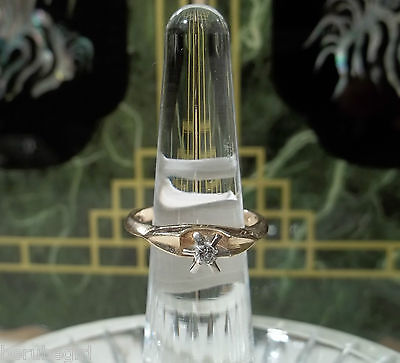 Vintage 14K Gold 0.10ct Diamond Solitaire Promise/Engagement Ring FREE SHIPPING