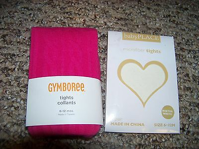 Girls tights NWT Size 6 - 12 month pink Gymboree winter white lot Valentines Day
