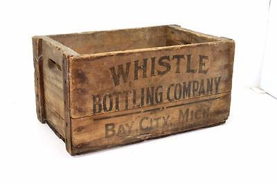 Vintage WHISTLE BOTTLING CO box BAY CITY MICH Old Soda Pop Bottle Crate RARE