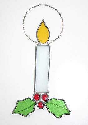 STAINED GLASS single candle Window hanging