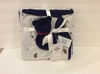 Ralph Lauren Polo Bear 3 PIECE INFANT GIFT SET Receiving Blanket Rattle New