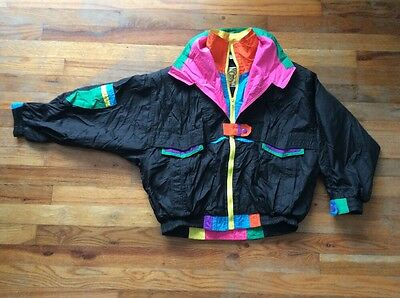 Vintage Neon & Black Youth Size L Giancarlo Windbreaker Jacket / Track Suit Top