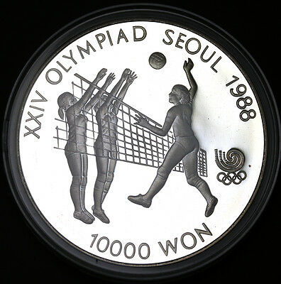 1987 Korea-South 10000 Won  Sterling Silver Seoul Olympiad Volleyball GEM Proof