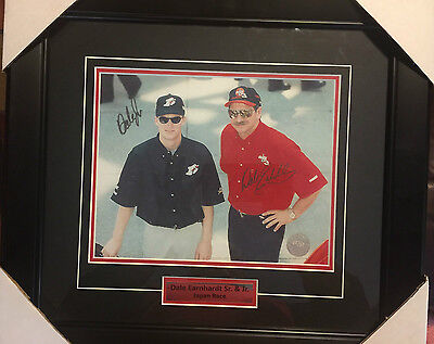 DALE EARNHARDT Sr. & Jr. Double Signed Autographed NASCAR Racing Framed Photo