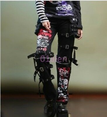 Mens Fashion Rock Punk Buckles Skull Long Trousers Pant Floral Rivet Chic Casual