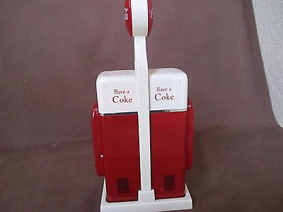 Coke Salt and Pepper Shakers Red and Beige with Holder