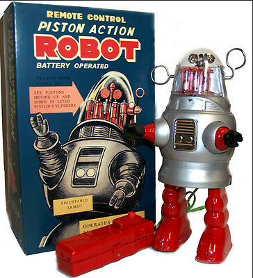 Piston Action Robby the Robot Tin Toy Battery Operated Silver or Gold 20cm