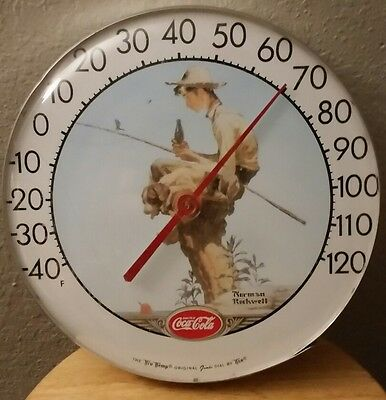 Vintage Coca Cola Coke Norman Rockwell Tru-Temp Jumbo Dial Thermometer like new