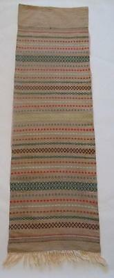 Swedish vintage lg woven wool wallhanging, traditional striped pattern, fringes