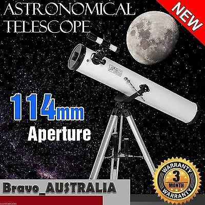 Astronomical Telescope with Metal Tripod 114mm Aperture 675x Zoom Lens Astronomy
