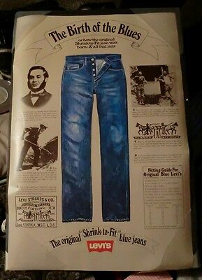 Vintage Levi Jeans Poster Birth Of The Blues **