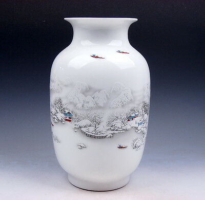Glazed Porcelain Oriental Snow Scenery Boat Rider Painted Unique Vase #12071602