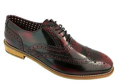 London Brogues Gatsby Mens Leather Wingtip Formal Shoes Bordo