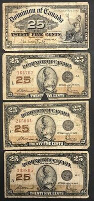 Lot of 4 Dominion of Canada Twenty Five Cents Bank Notes