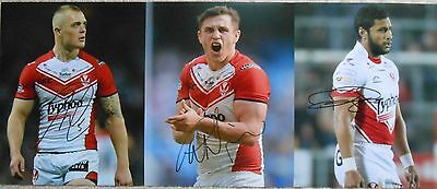 """St'Helens Signed Rugby League Photos x 3,Swift,Wilkin + Peyroux. 10""""x 8""""."""