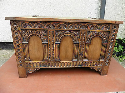 Antique Carved Oak Blanket Box, Storage Chest, Coffer, Coffee Table Quality Item