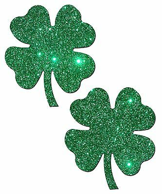 Shamrock Lucky Green Glittering 4-Leaf Clover Nipple Pasties by Pastease