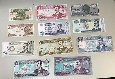 UNCIRCULATED SADDAM Hussein IRAQ  DINAR paper Money BANKNOTE lot of 11 bills
