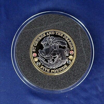 "2008 TDC Gold Plated Silver Proof Jewelled £5 ""St George"" in Case / COA  (Z6/30)"