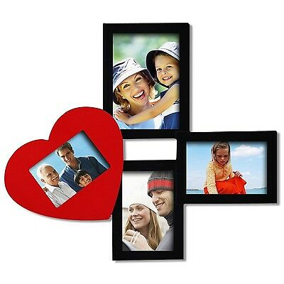 Black/Red Wood Wall Collage Picture Photo Frame, 4 Openings, Various Sizes