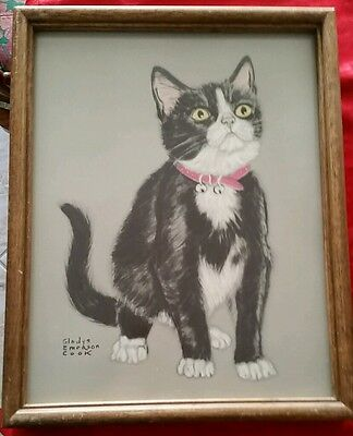 """Vintage Gladys Emerson Cook Black White Cat collar Picture Wood Frame 15"""" x 12"""""""