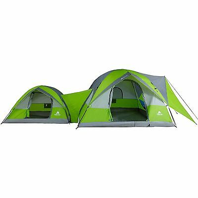 Ozark Trail 2-Dome Room Connection Camping Tent for 8 Person Weatherproof 2 gear