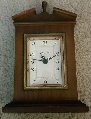 West Germany jerger vintage alarm clock German made wooden parts only
