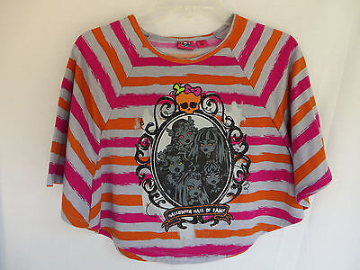 MONSTER HIGH Dolls Halloween Hall of Fame Batwing Poncho Shirt Top Girls L 10/12