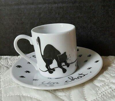 Cat Demitasse Espresso Cup White with Black Cats French Text