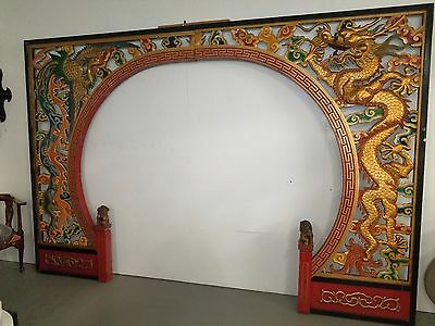 Huge Vintage Chinese Carved Wood Painted Arch Double Sided Dragons Foo Lions