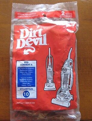 Dirt Devil Style 10 Replacement Vacuum Cleaner 2 Belts #3-860140-600 NEW
