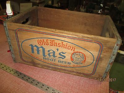 Ma's Old Fashion Root Beer Soda Crate Wood Lebanon Bottling Co.