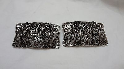 Vintage MUSI Pair of Filigree Shoe Clips Buckles with Black Rhinestones