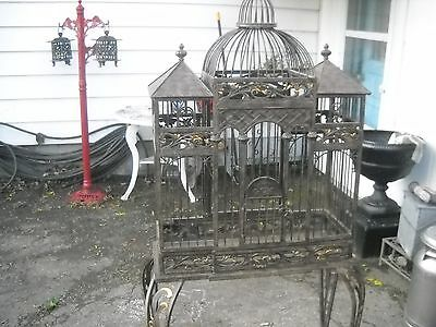vintage bird cage and stand wrought iron