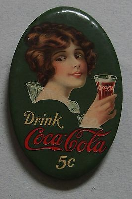 Very Rare 1914 Coca Cola Celluloid Advertising Pocket Mirror Beautiful Girl Mint